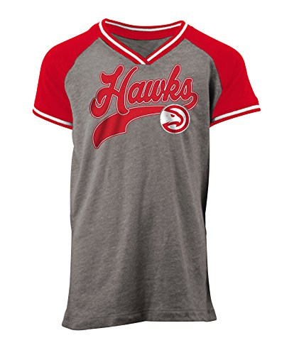 5th & Ocean NBA Atlanta Hawks Children Girls Youth Tri Blend Jersey V Neck Short sleeve,S,Heather Charcoal