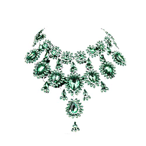 Hamer Women's Multi-Color Crystal Statement Chokers Necklace Pendant Jewelry for Girls (Green)