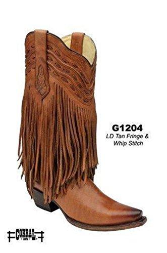 Corral Mujeres Tan Fringe Cowboy Bota G1204 Tan