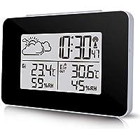Unineeo Station météo avec Horloge LCD numérique avec capteur extérieur sans Fil pour surveiller Le Climat, la température et l'humidité
