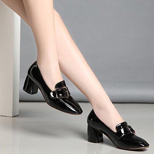 SSBY Die Neuen Herbst Herbst Neuen - Verschluß - Schuhe Einzelne Schuhe Mit Quadratischen British Academy Grob Hacken schwarz 524e05