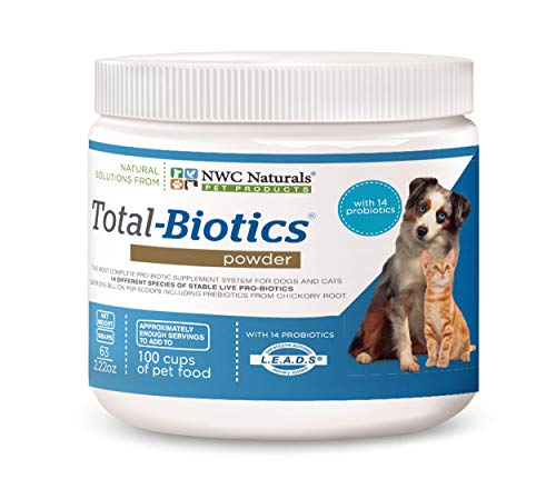 "New Size"" Total-Biotics probiotic Powder for Pets: Treats 100 Cups of pet Food."