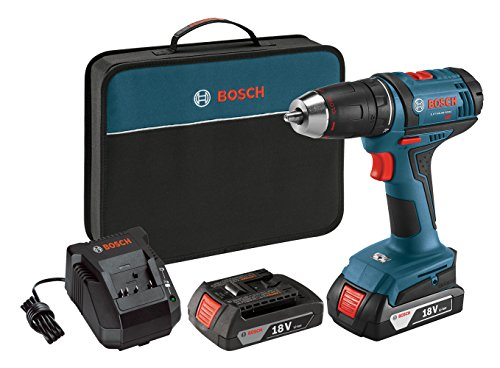 Bosch Power Tools Drill Kit - DDB181-02 - 18-Volt, ½', Compact Drill, Cordless Tool Drill Set - Includes Drill, Bit, 1.5Ah Batteries, Charger, Contractor Bag For Electricians, Plumbers, HVAC Tradesman