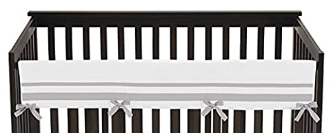 White and Gray Modern Hotel Long Front Rail Guard Baby Boy or Girl Teething Cover Protector Unisex Crib - Crib Teething Rail Cover