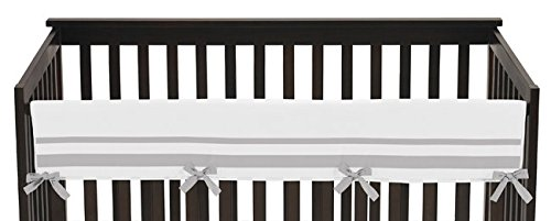 (Sweet Jojo Designs White and Gray Modern Hotel Long Front Rail Guard Baby Boy or Girl Teething Cover Protector Unisex Crib Wrap)