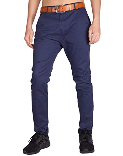 ITALY MORN Men's Chino Business Flat Front Casual Pants 34 Navy Blue Bi Stretch Welt Pocket Pants