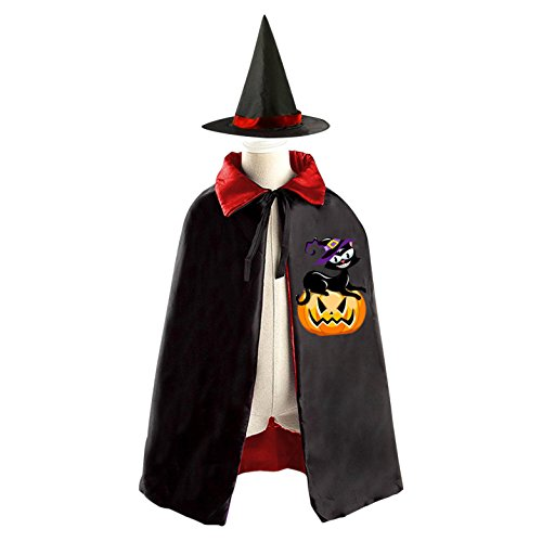 3 Person Matching Costumes (Black Cat Wearing Witch Hat Laying On Halloween Pumpkin Deluxe Unisex Kids Halloween Reversible Costumes Cloak Cape With Witch Hat)