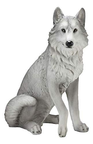 Ebros Large Dakota Wildlife Sitting Alpha Gray Wolf Statue 20.5