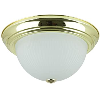 Sunlite DBS13/FR 13-Inch Dome Ceiling Fixture, Polished Brass Finish with Frosted Glass