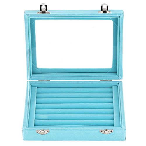 (LANTWOO Velvet Glass Jewelry Display Storage Box Ring Earrings Jewelry Box Ring Holder Case, 2 clasps)