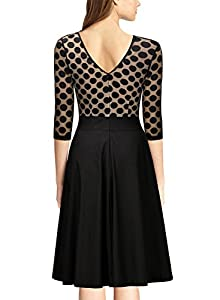 Miusol Women's 1950'S Style 2/3 Sleeve Evening Party Swing Dress