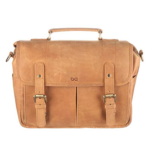 Leather Camera Messenger Bag for DSLR/Mirrorless Camera by Basic Gear - Vintage, Rustic Look - Fits Sony, Canon, Nikon, Olympus, Pentax with Lenses and Accessories (Tan)
