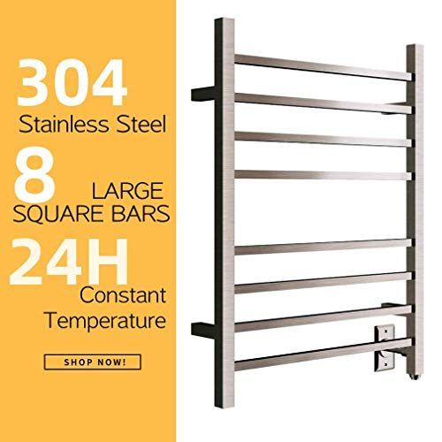HEATGENE Hot Towel Warmer for Bath Heated Drying Rack 8 Square Bar Brush Finish ()