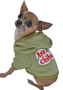 Ruff Ruff and Meow Dog Hoodie, Aye Chihuahua, Green, Extra-Small