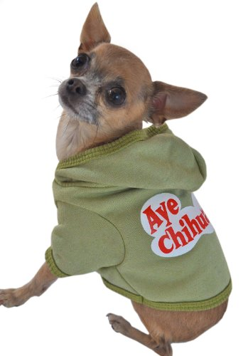 Ruff Ruff and Meow Dog Hoodie, Aye Chihuahua, Green, Extra-Small by Ruff Ruff and Meow