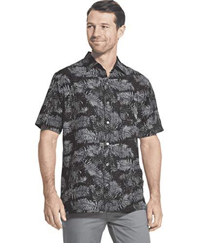 - Van Heusen Men's Air Tropical Short Sleeve Button Down Poly Rayon Shirt, Black, Small