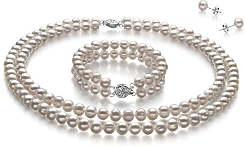 PearlsOnly - Juliane White 6-7mm Double Strand A Quality Freshwater Cultured Pearl Set-16 in Chocker length by PearlsOnly