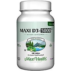 "Maxi Health Natural Vitamin D3 - ""5000 IU"" - Nutrition Supplement , 180 Tablets , Kosher"