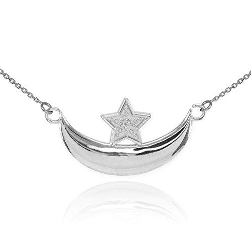 14 ct 585/1000 Or Blanc Diamant-Halbmond et Etoile-islamischen Collier