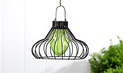 Outdoor Hanging Solar Garden Light Fixture - Vintage Style Pendant Lighting