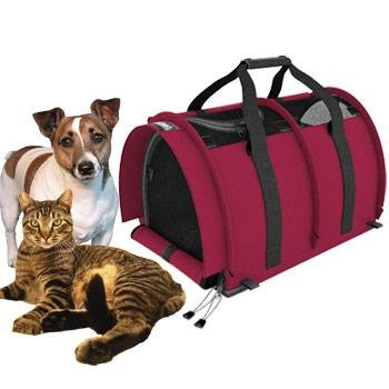 STURDI PRODUCTS Double Sided Divided Pet Carrier, Large, Bordeaux