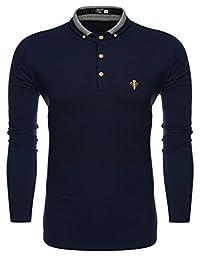 Coofandy Men's Long Sleeve Polo shirts Casual Slim Fit T Shirt