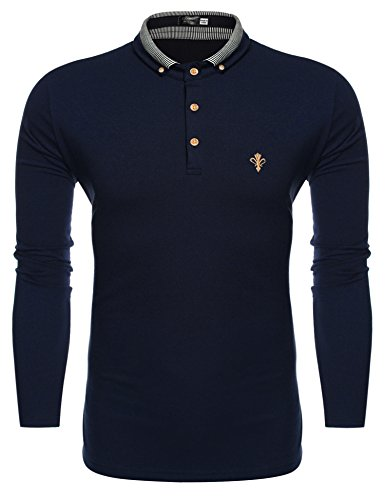 Coofandy Herren Poloshirt Langarm Hemd Freizeit Sport Einfarbig Shirt