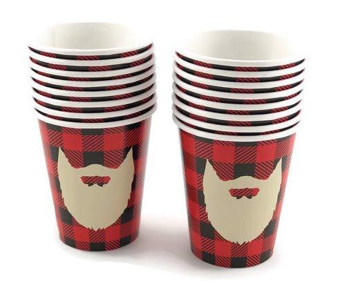 Lumberjack Beard Cups - 16ct Buffalo Plaid Party Ideas Baby Shower 1st Birthday -
