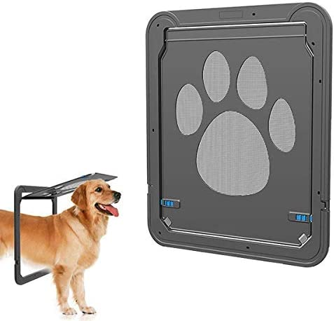 Pet Screen Door,Magnetic Flap Screen Automatic Lockable Black Door for Small Medium Dog and Cat Gate