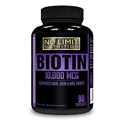 No Limit Nutrition - All Natural Hair Growth Biotin 10,000 MCG, Maximum Strength, Non-GMO, High Potency Veggie Capsule; Supports Hair, Skin & Nail Health