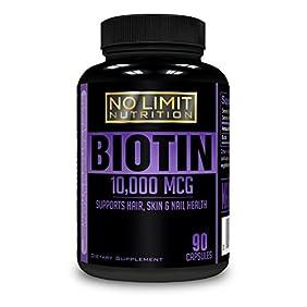 No Limit Nutrition - All Natural Hair Growth Biotin 10,000 MCG, Maximum Strength, Non-GMO, High Potency Veggie Capsule; Supports Hair, Skin & Nail Health