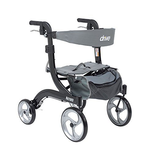 Drive Medical RTL10266WT-H Nitro Euro Style Walker Rollator, Petite, White