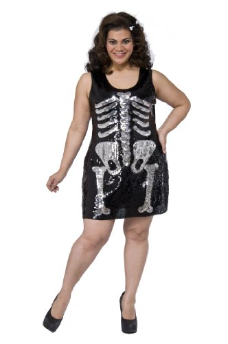Delicious Sequin Front Pull Over Dress Skelly Sally, Multi, (Plus Size Sally Costume)