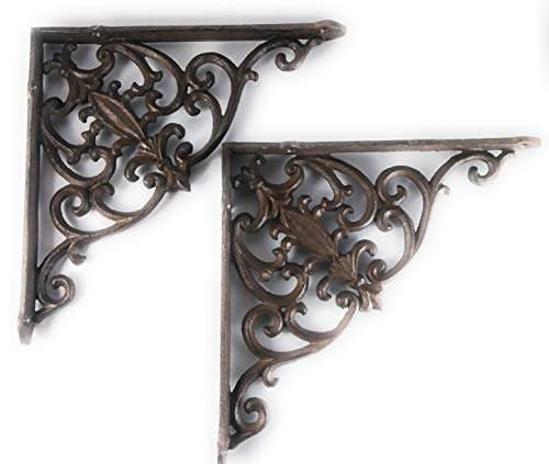 Aunt Chris' Products - Lot/Set of 2 - 10 Inch - Thick Victorian Shelf Bracket - Heavy Cast Iron - Scroll Design - All-Purpose Hanger - Dark Brown - Primitive Design - Indoor or Outdoor Use