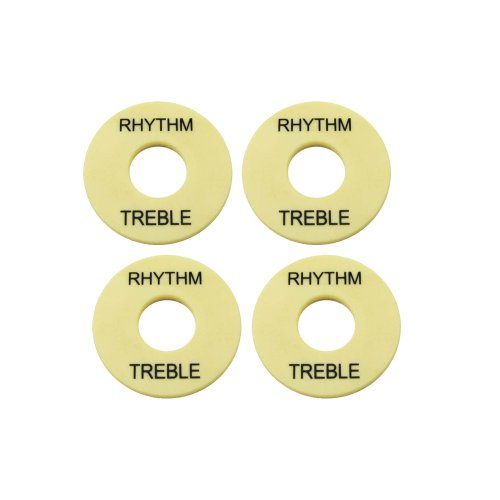 Musiclily Plastic Pickup Selector Plates Toggle Marker Switch Washer Treble Rhythm Ring, Ivory (Pack of 4)