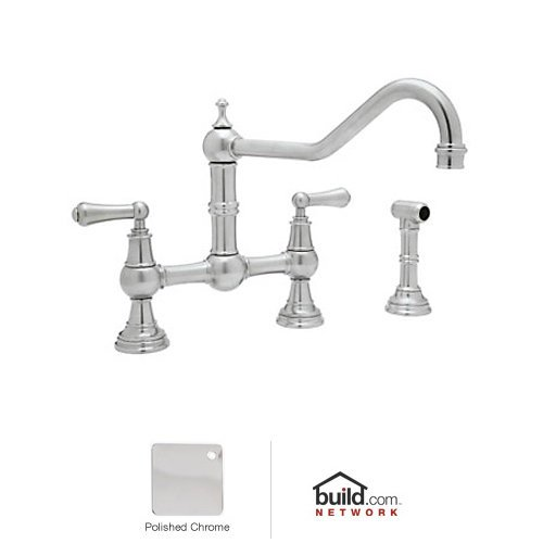 Rohl U.4764L-APC-2 Polished Chrome Perrin and Rowe Bridge Kitchen Faucet with Side Spray and Metal Lever Handles