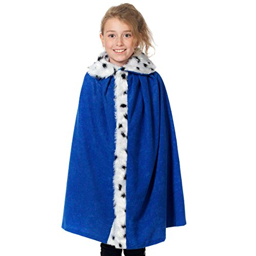 Fur Lined Blue King or Queen Cloak for Kids. 3-9 Years