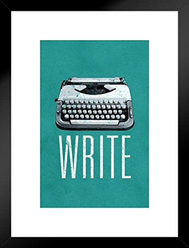 Poster Foundry Write Manual Typewriter Green Art Print Matted Framed Wall Art 20×26 inch