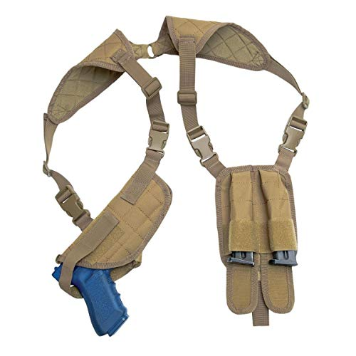 Rothco Ambidextrous Shoulder Holster w/Double Mag Pouch Panel, Coyote Brown