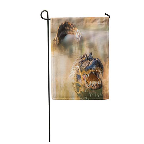 Semtomn Garden Flag 12x18 Inches Print On Two Side Polyester Large Alligator Swimming in Lake with His Tail and Head Showing and Mouth Open Home Yard Farm Fade Resistant Outdoor -