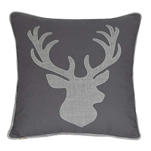 Millianess Deer Head Pillow Case Decorative Cotton Linen Embroidered Cushions Covers 18×18 Inches (Grey)