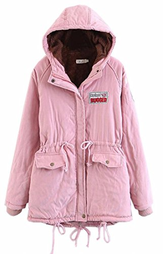 Coat Fleece Pink Womens Outwear Hooded uk Warm Year Winter Lined Parkas Fly x7A4H1wqH