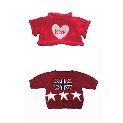 Bear Navy Teddy (2 pcs for Teddy Bear Clothes The Red Sweater With a Heart T-shirt and Stars Striped Sweater Fit 14