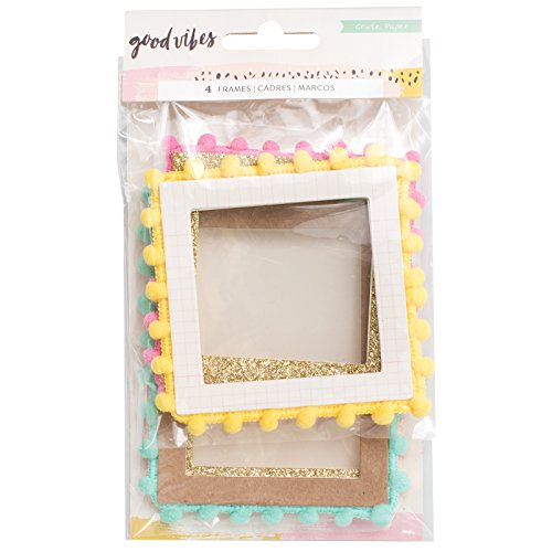Crate Paper 4 Piece Pom Frames Good Vibes Embellishments
