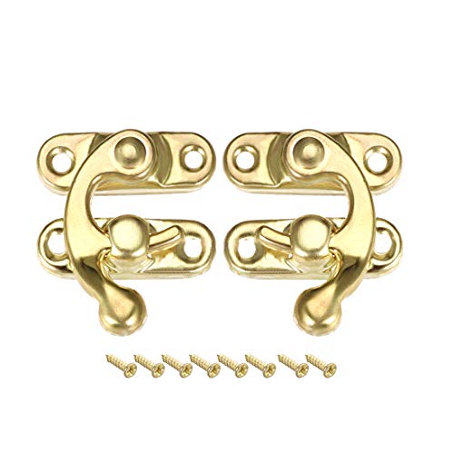 uxcell Antique Latch Hook Hasp, Swing Arm Latch Golden 10 Pairs w - Hinge Box Gold