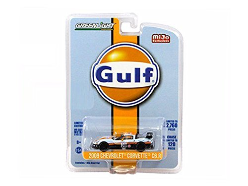 Greenlight 51128 2009 Chevrolet Corvette C6 R #30 Gulf Oil Racing Limited Edition of 2760 1/64 Diecast Model Car (C6 Diecast Car Model)