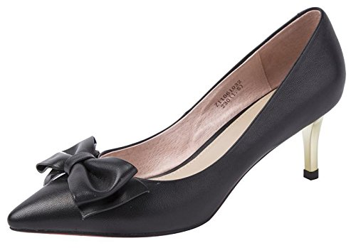 CAIHEE Women's Fashion Wedding Party High Heels Ladies Pointed Toe Leather Dress Pump(7B(M)US,black) (7 B(M)US, (Sofft Tall Shoes)