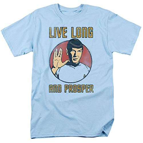 Popfunk Star Trek Spock Live Long and Prosper T Shirt w/Stickers (Medium) Carolina Blue