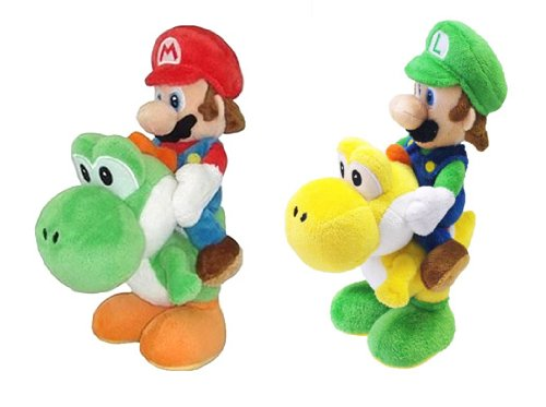 Little Buddy Super Mario Plush Doll Set of 2 - Mario Riding on Yoshi & Luigi Riding on Yoshi