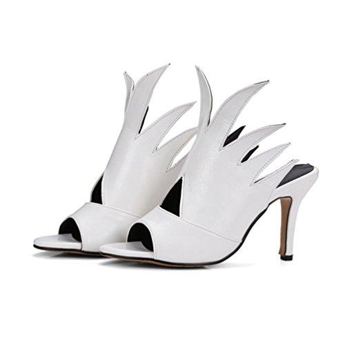 Cheville Haut Chaussure Aiguille Sandale Talon Femme Blanc CHENYANG Mode Escarpin Stiletto Xqg8f6